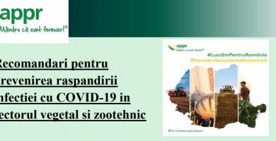 Recomandări pentru prevenirea raspandirii COVID 19 in sectorul vegetal si zootehnic