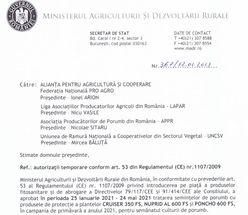 Autorizare temporară neonicotinoide pentru campania de primavara 2021