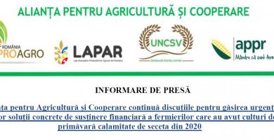 Informare de presă – Găsirea unei soluții concrete de susținere financiară privind calamitatile secetei 2020
